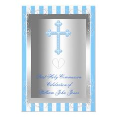 Boy First Holy Communion Silver Blue Stripe Personalized Announcements