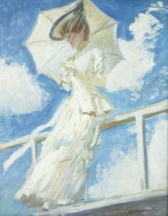 """""""Portrait de Madame Helleu à l'ombrelle"""" (Portrait of Mrs. Helleu with an umbrella), c. 1899, by Paul César Helleu (French, 1859-1927)"""