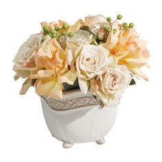 Cream Roses with Berries - Ethan Allen US