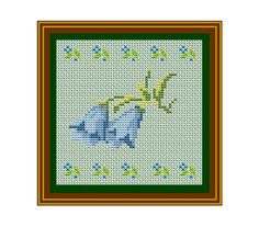 Bellflower PDF Instant Download. Flower Pattern. Forget Me Not Counted Cross Stitch Pattern.