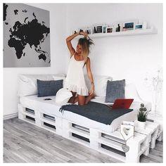 Streichen Sie Paletten in einer weißen Farbe damit sie noch moderner aussehen… 12 sehr schöne Beispiele um selbst nach zu machen! - DIY Bastelideen