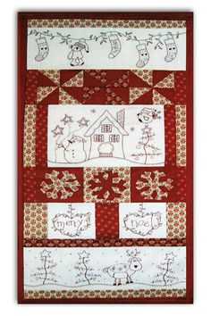 """This sweet quilted and stitchery wall hanging measures just 16"""" x 32"""" and features our holiday favorites - snowmen, reindeer and teddybears!   The kit includes all of the fabric required to complete the project, including backing and floss, full size and easy-to-follow instructions."""