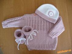béžová soupravička Knitting For Kids, Baby Knitting, Crochet Fashion, Kids And Parenting, Knit Crochet, Sweater Cardigan, Children, Sweaters, Handmade