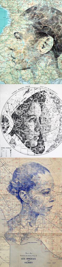 New Portraits Drawn on Maps and Star Charts by Ed Fairburn Collage Portrait, Collage Art, Portraits, Art Altéré, Map Art, Kunst Online, Ap Studio Art, Photocollage, A Level Art