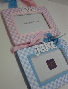 TWIN Girl  Boy Frames  Diagonal Gingham  to match by RibbonMade