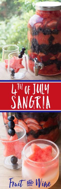 Fourth of July Sangria | Red White and Blue Sangria | 4th of July Party Idea | Easy Summer Sangria via @brendidblog