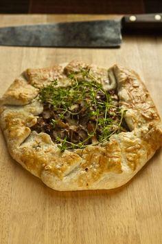 Rustic Wild Mushroom Tart, made with Chanterelle Mushrooms