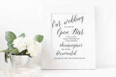 Open Bar idea | Funny open bar sign | wedding fun ideas | INSTANT DOWNLOAD | PDF file | elegant black and white calligraphy by redlinecs on Etsy