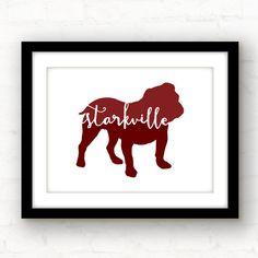 Starkville bulldog  Mississippi state art  by PaperFinchDesign