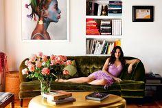 Assymmetry behind the sofa Padma Lakshmi in her New York City living room