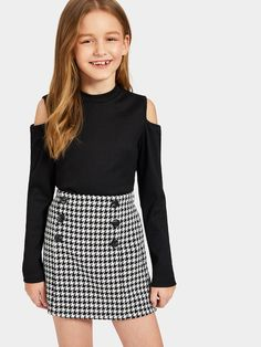 Girls Cold Shoulder Rib-knit Tee and Houndstooth Skirt Set | SHEIN UK