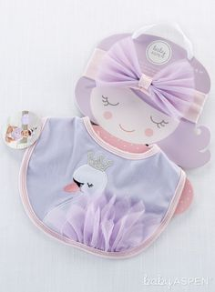 Our Swan Princess Bib and Headband Set includes a bib and matching headband, both accented with purple tulle and perfect for your little princess. Baby Aspen, Praying For A Baby, Baby Shower Princess, 1st Birthday Girls, Little Girl Fashion, Baby Girl Gifts, Trendy Baby, Little Princess, Baby Knitting