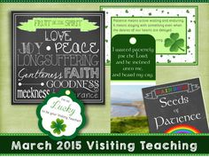 "March 2015 LDS Visiting Teaching Printable | Wordy Wisdom | ~ love the ""seeds of patience"" packet-- totally darling!! #marchvisitingteaching"