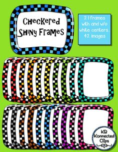 Frames! Checkered and Shiny $ https://www.teacherspayteachers.com/Product/Shiny-Square-and-Rectangle-Frames-Rachael-Collection-1666382