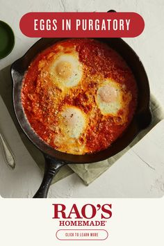 Bet you haven't had Eggs in Purgatory with delicious Rao's Homemade®sauce. Brunch will never be the same. Click for the full recipe! Egg Recipes, Brunch Recipes, Mexican Food Recipes, Italian Recipes, Low Carb Recipes, Diet Recipes, Vegetarian Recipes, Cooking Recipes, Healthy Recipes