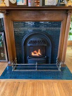 Fireplace Built Ins, Fireplace Remodel, Diy Fireplace, Fireplace Design, Fireplaces, Fireplace Pictures, Victorian Fireplace, Blue Tiles, Handmade Tiles