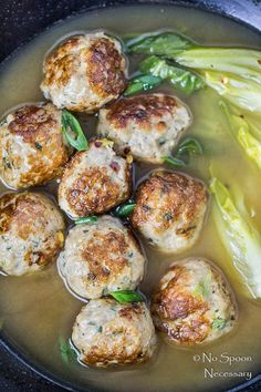 Ginger lemongrass chicken meatballs and bok choy in miso broth make for a light, healthy and seriously satisfying soup.  Bursting with flavor, this soup is the perfect way to cozy up and stay warm!