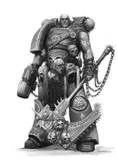 alexboca berserker chainaxe chaos kharn_the_betrayer monochrome plasma_pistol portrait space_marines world_eaters