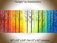 "Twilight by QIQIGallery 60"" x 24"" Original Modern Abstract Landscape Wall Painting Office Wall Décor Birds Painting Wall Décor Wall Hangings Office Wall Art for Sale by Artist"
