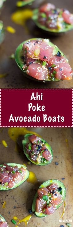 These Ahi Poke Avocado Boats recipe is super quick to make & the perfect dish to bring to a barbecue/potluck. The flavors are simple, yet incredibly vibrant. TheMovementMenu.com