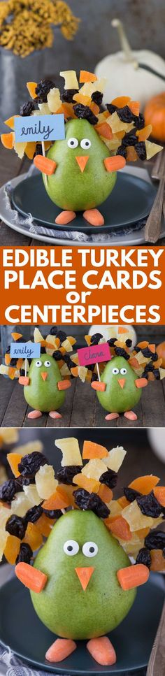 Make these adorable turkeys to use as edible place card holders or edible table centerpieces for Thanksgiving! Easy to make with a pear, dried fruit on toothpicks, carrot pieces and candy eye balls!