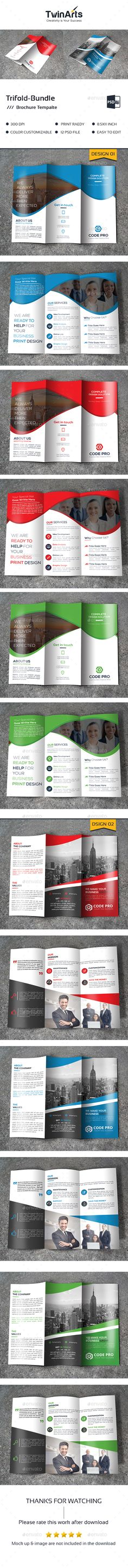 Tri-fold Brochure Templates PSD Bundle. Download here: https://graphicriver.net/item/trifold-bundle_2-in-1/17460824?ref=ksioks