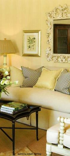 living room-yellow wall, burgundy couch, patterned pillows? | Our ...