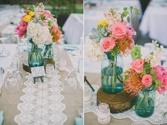 Burlap runner with lace and blue mason jars    LORENA + RICHARD | LONG BEACH MUSEUM OF ART WEDDING