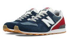 New Balance 696, Navy with Red & Blue Ashes