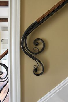 Steel & Wood Railing by Maynard Studios. I like this railing. Wrought Iron Stair Railing, Wall Railing, Stair Railing Design, Stair Handrail, Staircase Railings, Wrought Iron Decor, Banisters, Staircases, Wall Mounted Handrail