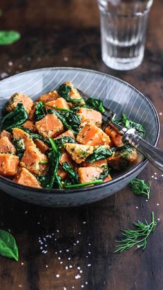 Sweet Potato Salad with Spinach in Mustard Dill Sauce