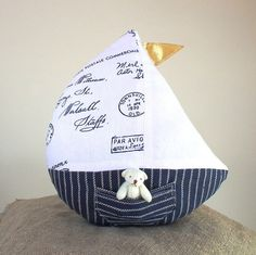 Sailboat toy linen toy boat pillow plush by CherryGardenDolls