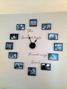 Time Spent With Family Is Worth Every Second Vinyl Lettering With - Wall decals clock
