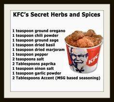 I also add Tellicherry Pepper which is in one of the other kfc recipes I have. It really gives it that kfc flavor Homemade Spices, Homemade Seasonings, Homemade Dry Mixes, Homemade Baby, Dog Food Recipes, Cooking Recipes, Meatloaf Recipes, Family Recipes, Cooking Tips