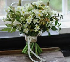 Lock Cottage Flowers, Surrey UK: 100% British grown bridal bouquet including narcissus 'Avalanche' https://www.facebook.com/LockCottageFlowers