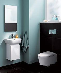 Badezimmer in Türkis und Braun
