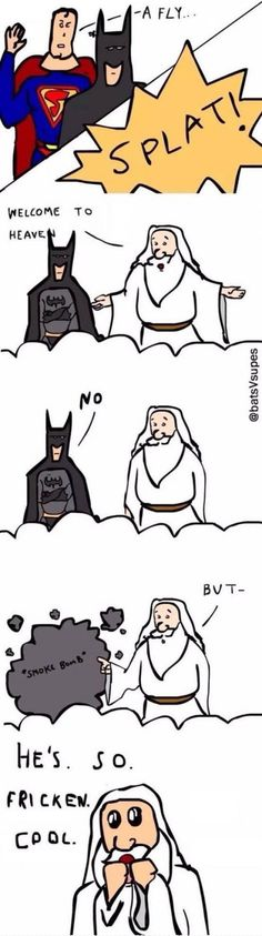 Funny pictures about Batman Goes To Heaven. Oh, and cool pics about Batman Goes To Heaven. Also, Batman Goes To Heaven photos. Dc Memes, Funny Memes, Hilarious, Funny Videos, Batman Vs Superman, Marvel Dc Comics, Funny Batman, Batman Humor, Batman Art