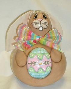 Gourd Easter Bunny with Easter Egg  Hand Painted by FromGramsHouse, $28.00