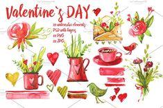 watercolor valentine`s day by Olesya Morokhovets on @creativemarket