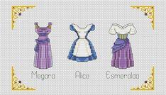 "Megara - Alice - Esmeralda"" Modern cross stitch pattern in pdf BUY 2 GET 1 FREE Robes Disney, Disney Outfits, Disney Cross Stitch Patterns, Cross Stitch Designs, Beading Patterns, Knitting Patterns, Disney Princess Dresses, Disney Princesses, Disney Stitch"