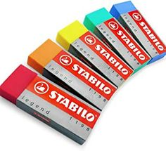 STABILO Legend Plastic Eraser - Pack of 5 - One of Each Colour E Online, Promotion Code, Planner, Color Names, Initials, Stationery, Packing, Basket, Plastic