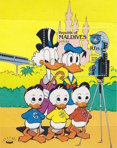 Familia del Pato Donald Retratos de Familia Nov. 84 Maldivas Hoja recuerdo