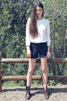 i kinda have shorts like those. i want to wear with tights and boots in the fall like weather.
