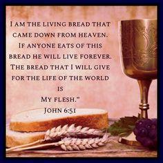 John 6:51 John 6 35, Gospel Of John, Bible Verses Quotes, Scriptures, Bible Verse Wallpaper, Inspirational Prayers, Divine Mercy, God First, God