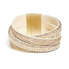 GUESS Alicia Gold-Tone Felt Cuff ($28) ❤ liked on Polyvore featuring jewelry, bracelets, cuff jewelry, guess jewellery, anaconda jewelry, cuff bangle and felt jewelry