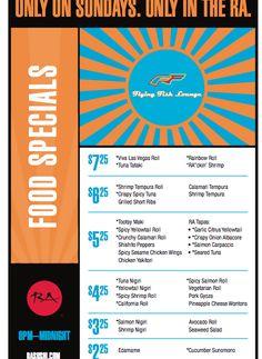 Flying Fish Specials  Sunday 8 - Midnight