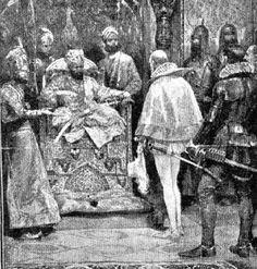 John Mildenhall (Mendenhall) meets Indian Mughal emperor, Akbar the Great ca. 1600