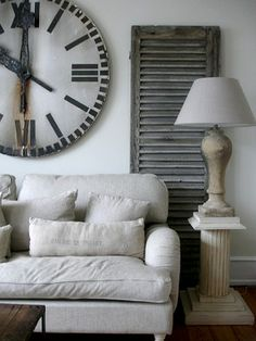 Vintage shutters offer interesting accents to your living room. (I love the oversized clock! Decor, Furniture, House Design, Room, Home, Home Furniture, White Decor, Living Room Inspiration, Interior Design