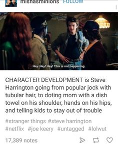 Funny Stuff, Random Stuff, Fangirl Problems, Steve Harrington, Tv Quotes, Horror Movies, Stranger Things, Movies And Tv Shows, Falling In Love