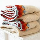 Great idea - Knitted blanket with crochet border